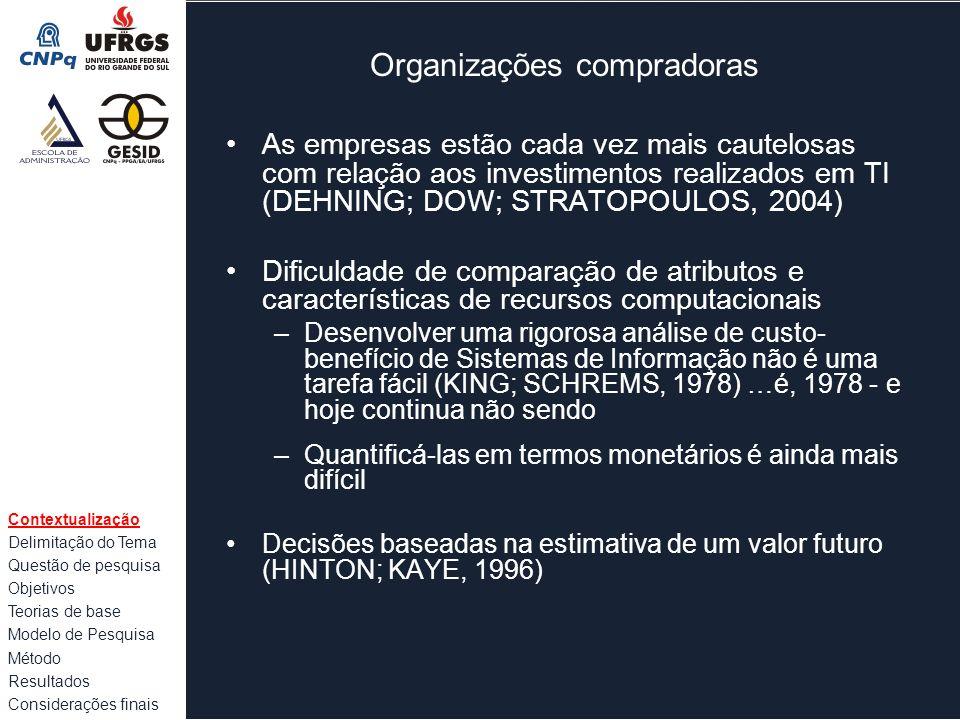 Organizações compradoras As empresas estão cada vez mais cautelosas com relação aos investimentos realizados em TI (DEHNING; DOW; STRATOPOULOS, 2004)