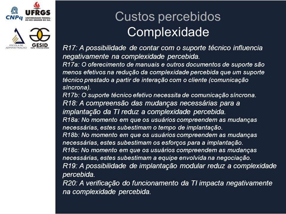 R17: A possibilidade de contar com o suporte técnico influencia negativamente na complexidade percebida. R17a: O oferecimento de manuais e outros docu