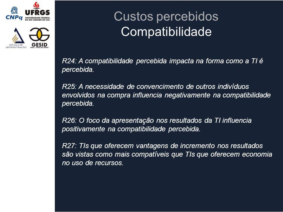 Custos percebidos Compatibilidade R24: A compatibilidade percebida impacta na forma como a TI é percebida. R25: A necessidade de convencimento de outr