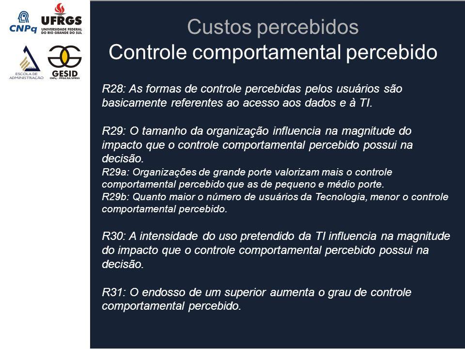R28: As formas de controle percebidas pelos usuários são basicamente referentes ao acesso aos dados e à TI. R29: O tamanho da organização influencia n
