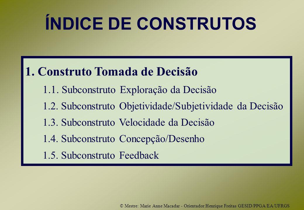 © Mestre: Marie Anne Macadar - Orientador:Henrique Freitas GESID/PPGA/EA/UFRGS ÍNDICE DE CONSTRUTOS 1.