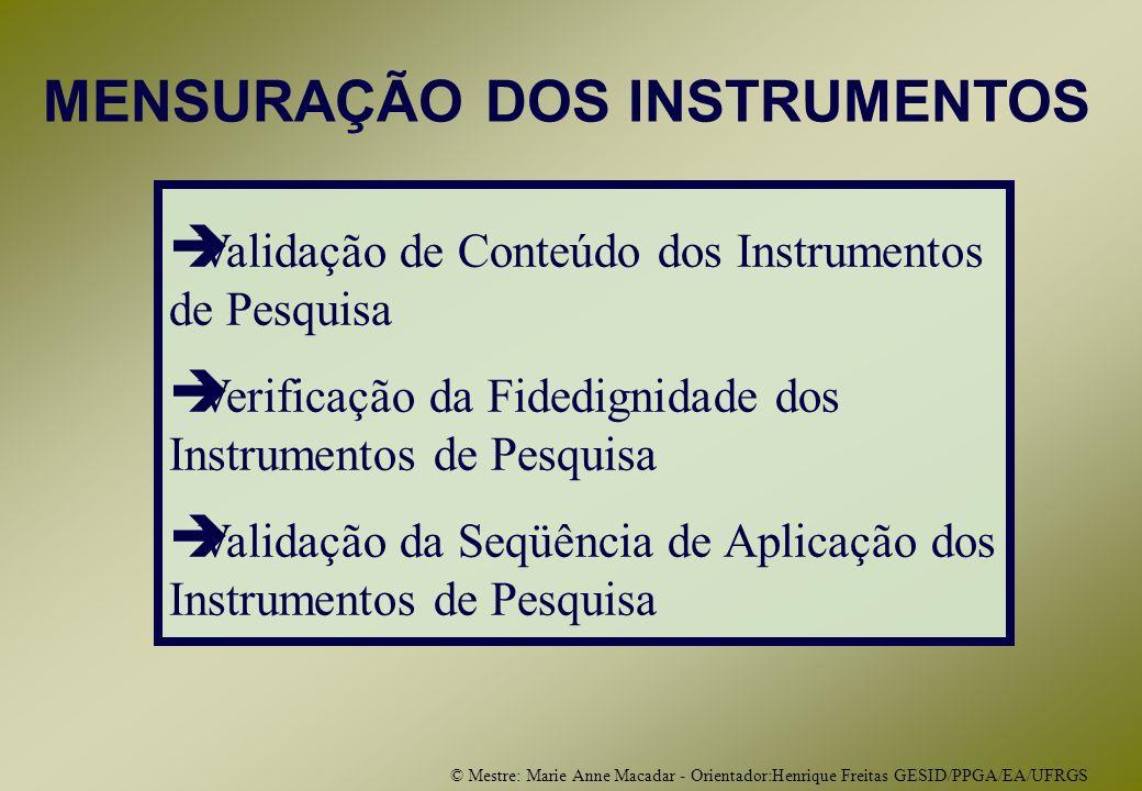 © Mestre: Marie Anne Macadar - Orientador:Henrique Freitas GESID/PPGA/EA/UFRGS Validação de Conteúdo dos Instrumentos de Pesquisa Verificação da Fidedignidade dos Instrumentos de Pesquisa Validação da Seqüência de Aplicação dos Instrumentos de Pesquisa MENSURAÇÃO DOS INSTRUMENTOS