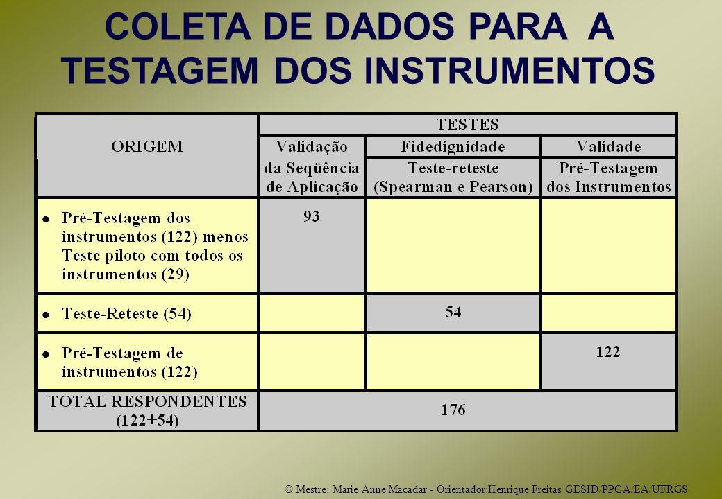 © Mestre: Marie Anne Macadar - Orientador:Henrique Freitas GESID/PPGA/EA/UFRGS COLETA DE DADOS PARA A TESTAGEM DOS INSTRUMENTOS