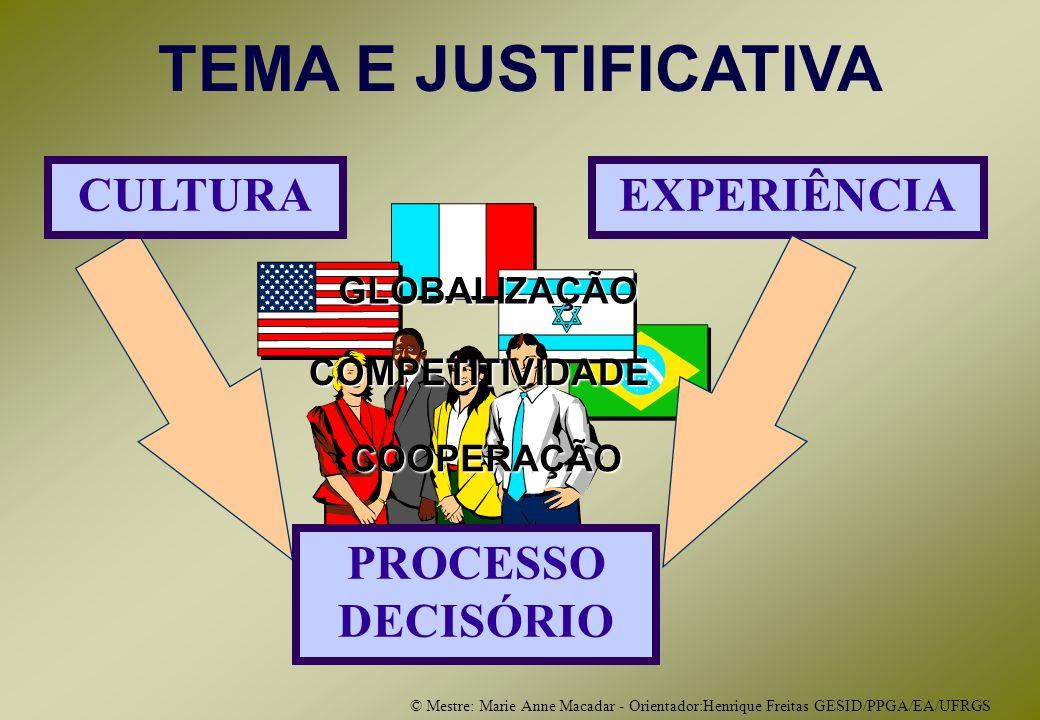 © Mestre: Marie Anne Macadar - Orientador:Henrique Freitas GESID/PPGA/EA/UFRGS GLOBALIZAÇÃO COOPERAÇÃO COOPERAÇÃO COMPETITIVIDADE TEMA E JUSTIFICATIVA CULTURAEXPERIÊNCIA PROCESSO DECISÓRIO