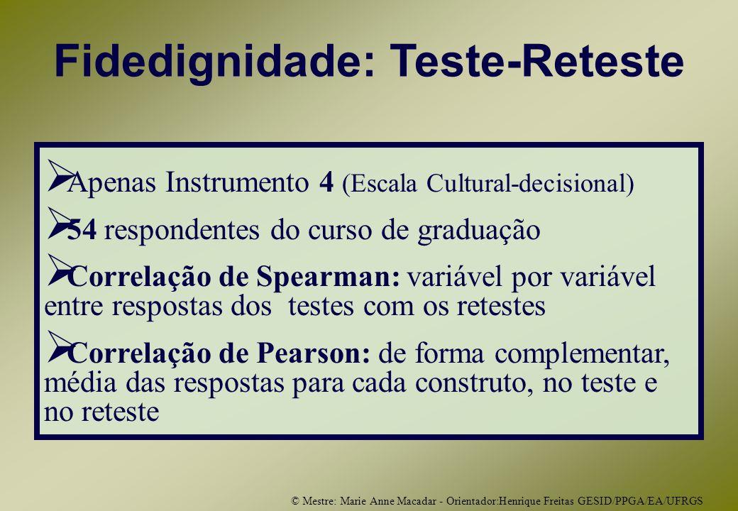 © Mestre: Marie Anne Macadar - Orientador:Henrique Freitas GESID/PPGA/EA/UFRGS Fidedignidade: Teste-Reteste Apenas Instrumento 4 (Escala Cultural-decisional) 54 respondentes do curso de graduação Correlação de Spearman: variável por variável entre respostas dos testes com os retestes Correlação de Pearson: de forma complementar, média das respostas para cada construto, no teste e no reteste