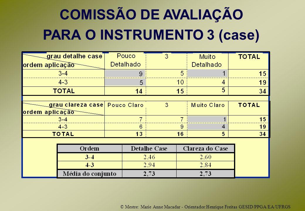 © Mestre: Marie Anne Macadar - Orientador:Henrique Freitas GESID/PPGA/EA/UFRGS COMISSÃO DE AVALIAÇÃO PARA O INSTRUMENTO 3 (case)