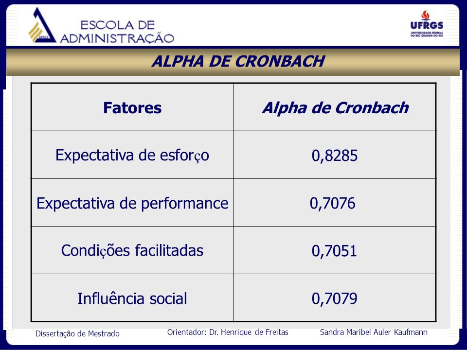 Orientador: Dr. Henrique de Freitas Sandra Maribel Auler Kaufmann Dissertação de Mestrado ALPHA DE CRONBACH FatoresAlpha de Cronbach Expectativa de es
