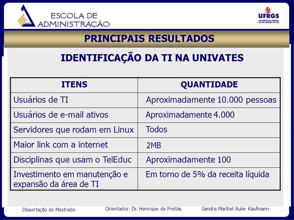 Orientador: Dr. Henrique de Freitas Sandra Maribel Auler Kaufmann Dissertação de Mestrado PRINCIPAIS RESULTADOS ITENSQUANTIDADE Usuários de TI Aproxim