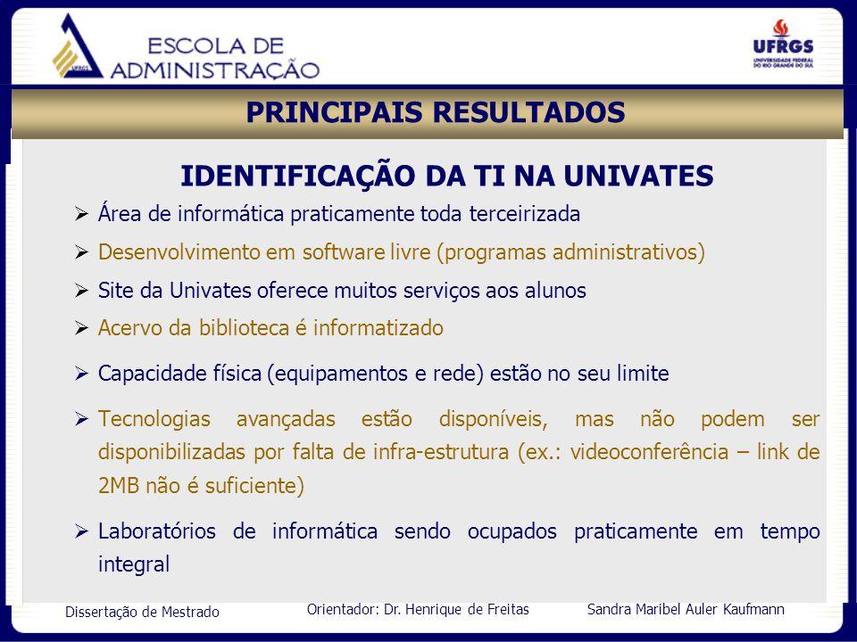 Orientador: Dr. Henrique de Freitas Sandra Maribel Auler Kaufmann Dissertação de Mestrado PRINCIPAIS RESULTADOS IDENTIFICAÇÃO DA TI NA UNIVATES Área d