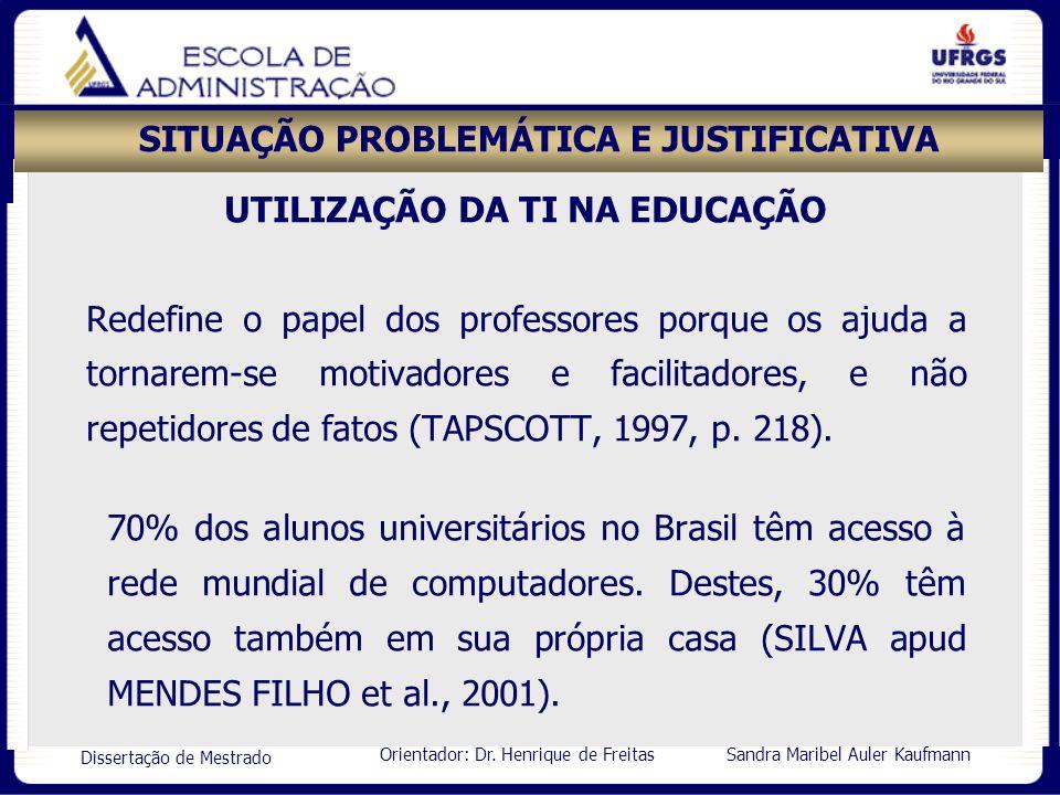 Orientador: Dr. Henrique de Freitas Sandra Maribel Auler Kaufmann Dissertação de Mestrado SITUAÇÃO PROBLEMÁTICA E JUSTIFICATIVA UTILIZAÇÃO DA TI NA ED
