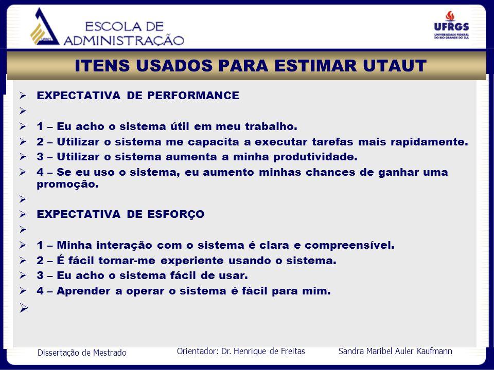Orientador: Dr. Henrique de Freitas Sandra Maribel Auler Kaufmann Dissertação de Mestrado ITENS USADOS PARA ESTIMAR UTAUT EXPECTATIVA DE PERFORMANCE 1