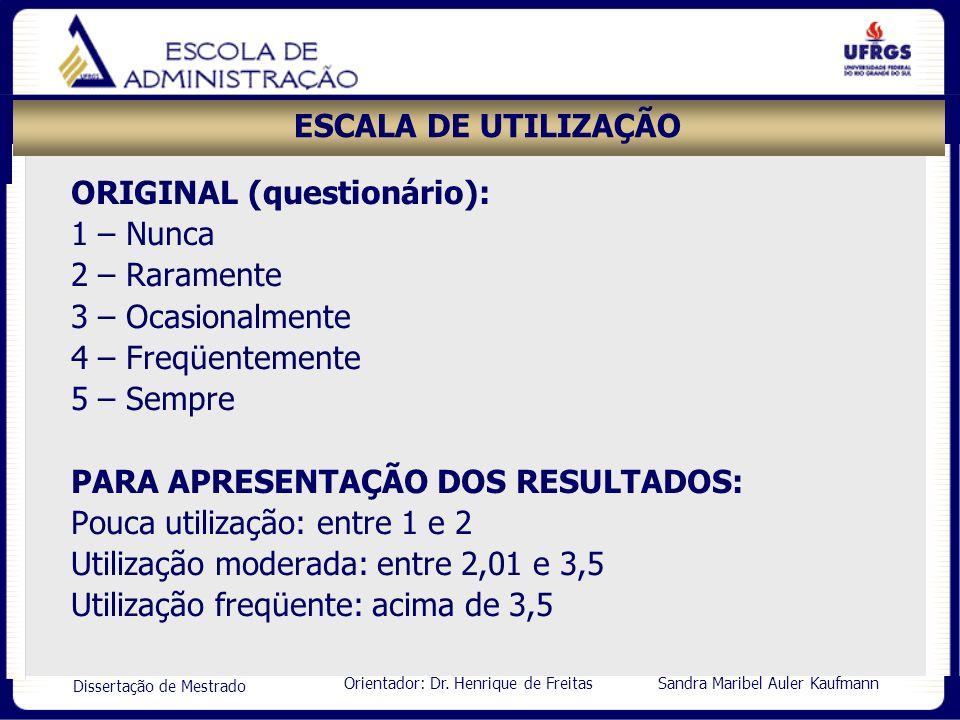 Orientador: Dr. Henrique de Freitas Sandra Maribel Auler Kaufmann Dissertação de Mestrado ESCALA DE UTILIZAÇÃO ORIGINAL (questionário): 1 – Nunca 2 –