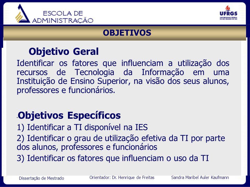 Orientador: Dr. Henrique de Freitas Sandra Maribel Auler Kaufmann Dissertação de Mestrado OBJETIVOS Objetivo Geral Identificar os fatores que influenc