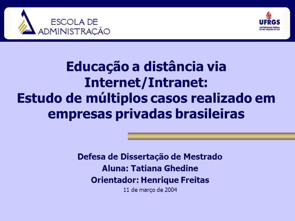 Dissertação de Mestrado Tatiana Ghedine Estrutura da Apresentação 1.EAD 2.Tema e justificativa 3.Objetivos 4.Método 5.Resultados 6.Considerações Finais