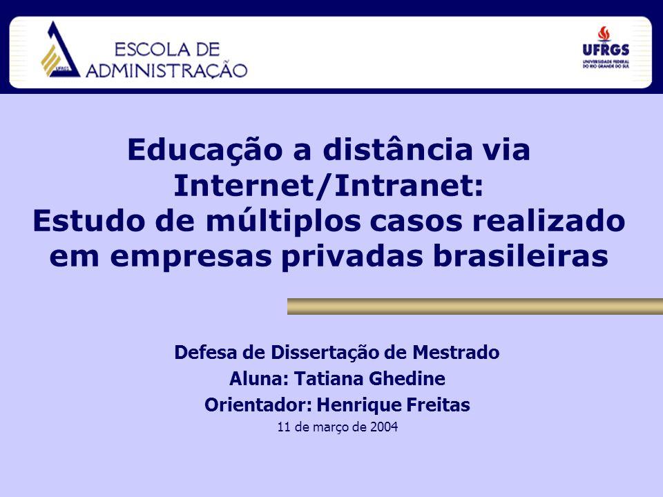 Educação a distância via Internet/Intranet: Estudo de múltiplos casos realizado em empresas privadas brasileiras Defesa de Dissertação de Mestrado Alu