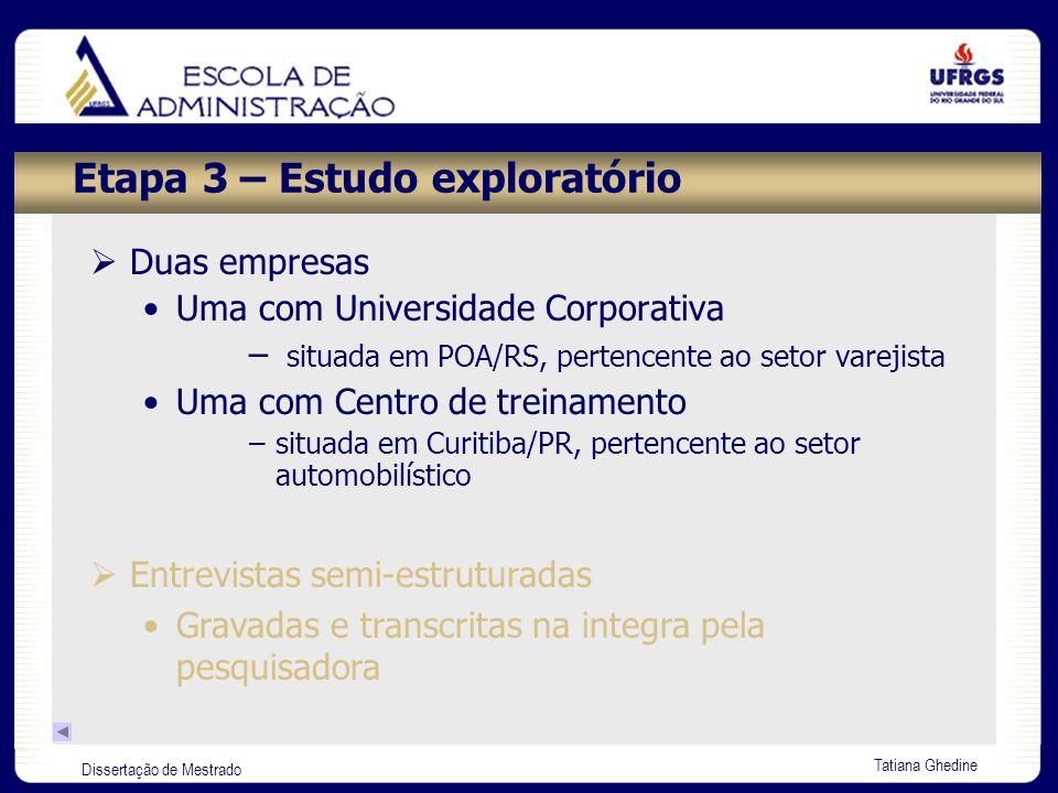Dissertação de Mestrado Tatiana Ghedine Etapa 3 – Estudo exploratório Duas empresas Uma com Universidade Corporativa – situada em POA/RS, pertencente