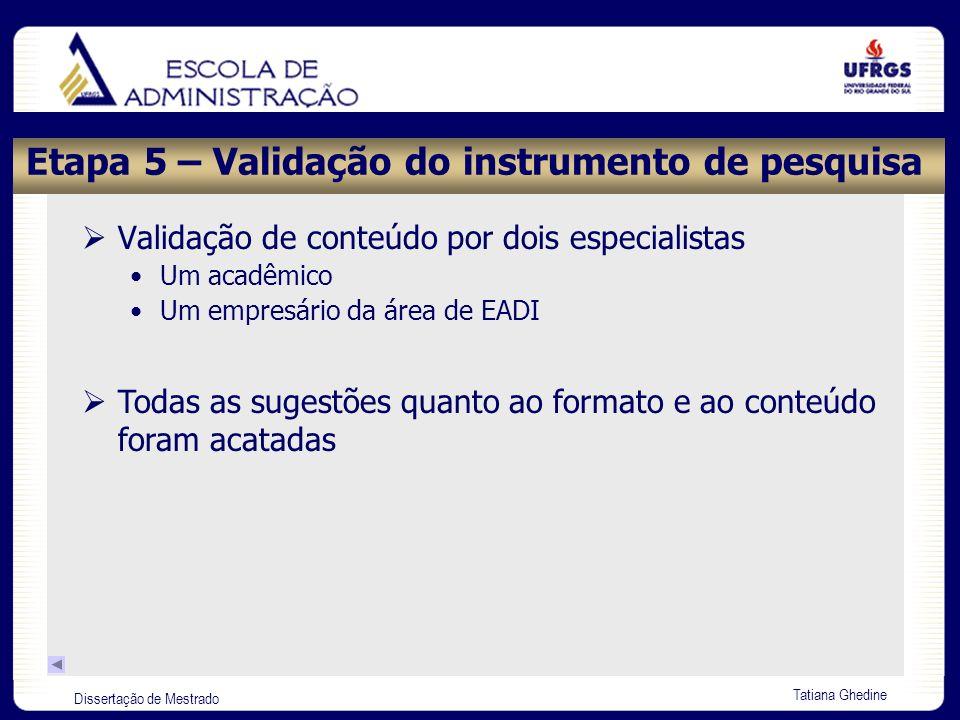 Dissertação de Mestrado Tatiana Ghedine Etapa 5 – Validação do instrumento de pesquisa Validação de conteúdo por dois especialistas Um acadêmico Um em