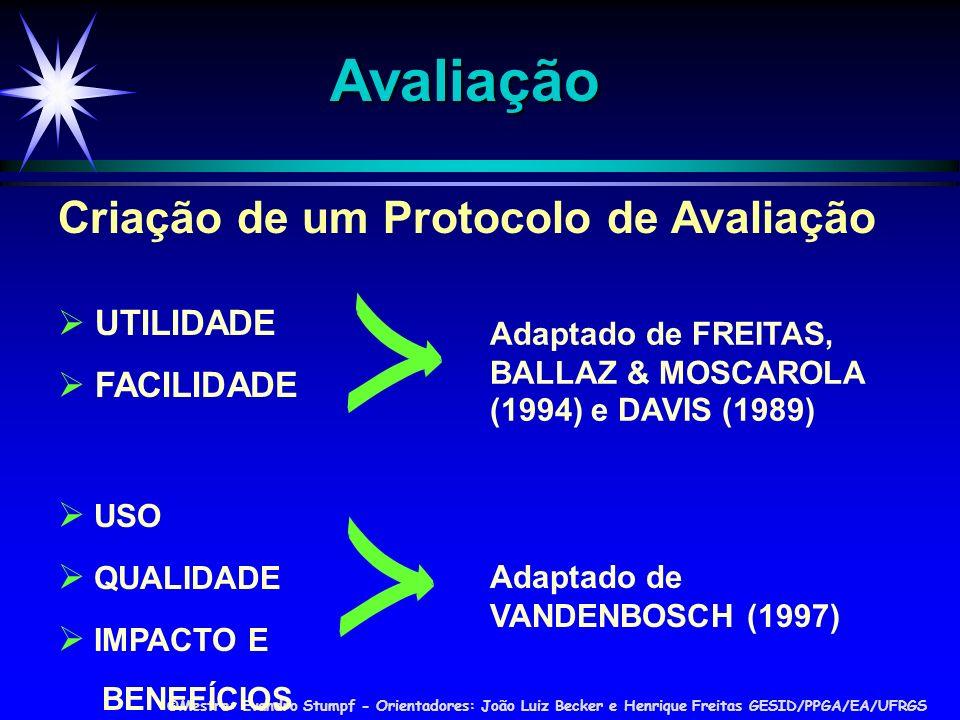 ©Mestre: Evandro Stumpf - Orientadores: João Luiz Becker e Henrique Freitas GESID/PPGA/EA/UFRGS Avaliação UTILIDADE FACILIDADE Adaptado de FREITAS, BALLAZ & MOSCAROLA (1994) e DAVIS (1989) USO QUALIDADE IMPACTO E BENEFÍCIOS Adaptado de VANDENBOSCH (1997) Criação de um Protocolo de Avaliação