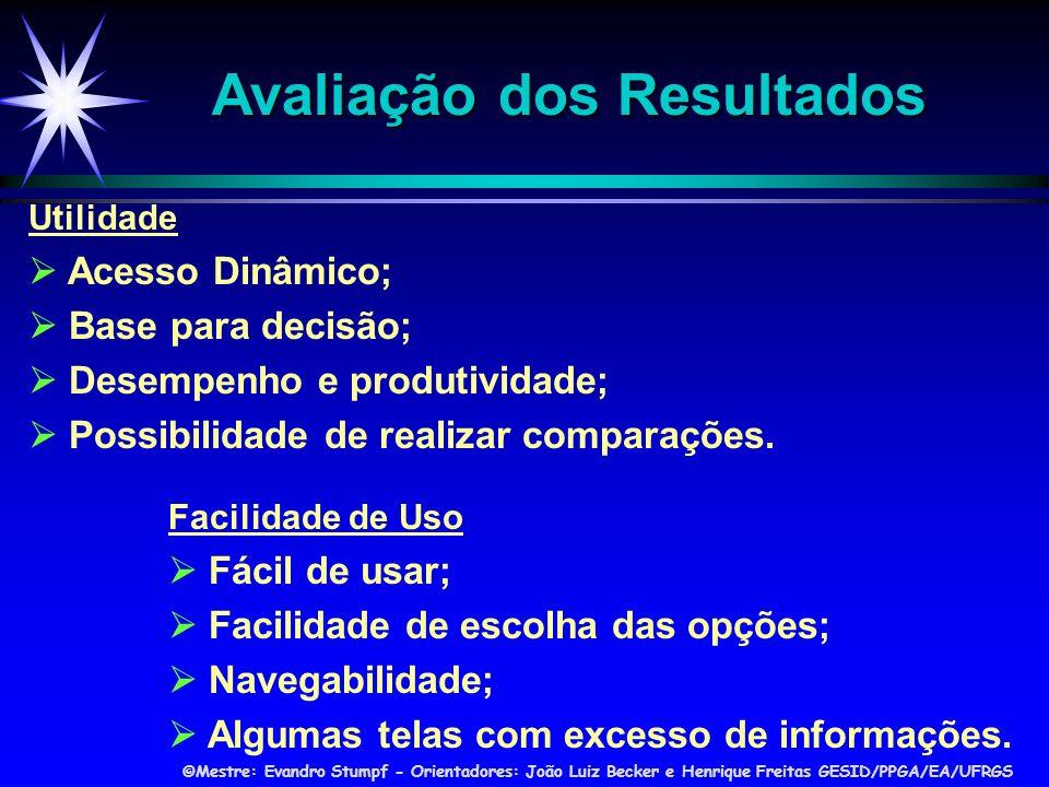 ©Mestre: Evandro Stumpf - Orientadores: João Luiz Becker e Henrique Freitas GESID/PPGA/EA/UFRGS Utilidade Acesso Dinâmico; Base para decisão; Desempenho e produtividade; Possibilidade de realizar comparações.