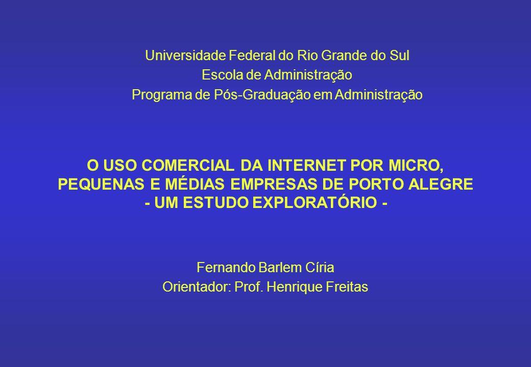 O USO COMERCIAL DA INTERNET POR MICRO, PEQUENAS E MÉDIAS EMPRESAS DE PORTO ALEGRE - UM ESTUDO EXPLORATÓRIO - Fernando Barlem Círia Orientador: Prof. H