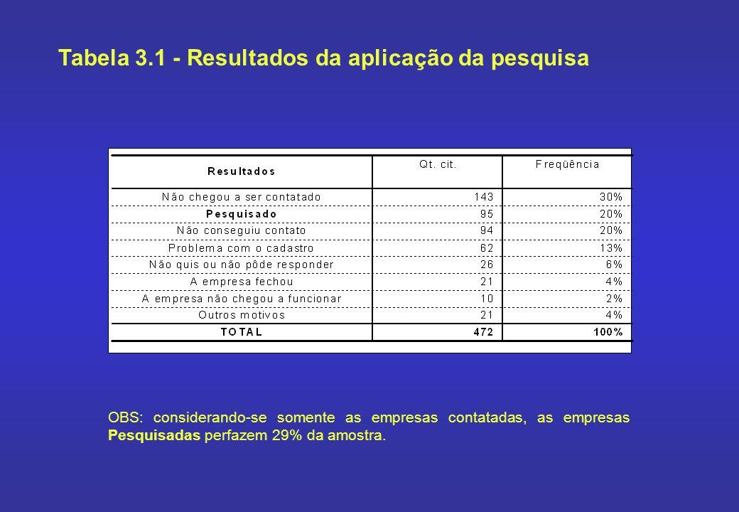 OBS: considerando-se somente as empresas contatadas, as empresas Pesquisadas perfazem 29% da amostra. Tabela 3.1 - Resultados da aplicação da pesquisa
