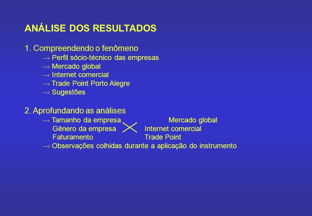 ANÁLISE DOS RESULTADOS 1. Compreendendo o fenômeno Perfil sócio-técnico das empresas Mercado global Internet comercial Trade Point Porto Alegre Sugest