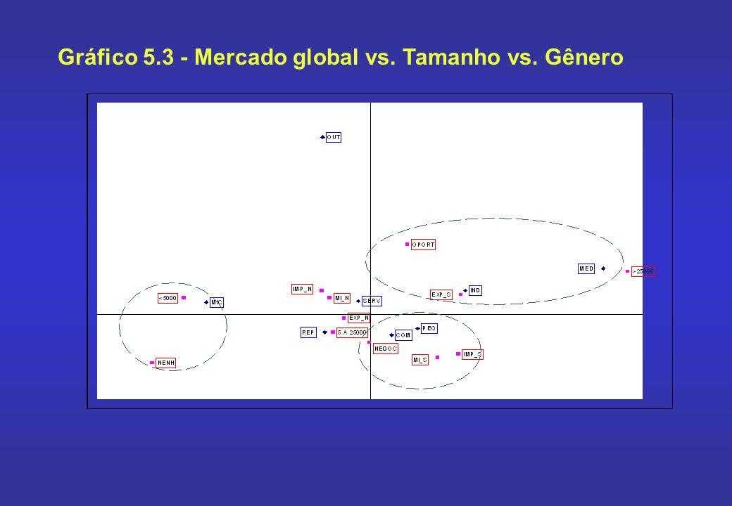 Gráfico 5.3 - Mercado global vs. Tamanho vs. Gênero