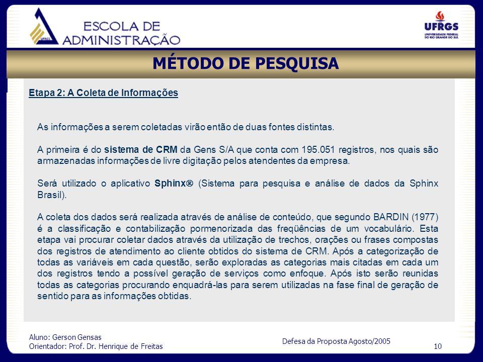 Aluno: Gerson Gensas Orientador: Prof. Dr. Henrique de Freitas 10 Defesa da Proposta Agosto/2005 MÉTODO DE PESQUISA Etapa 2: A Coleta de Informações A