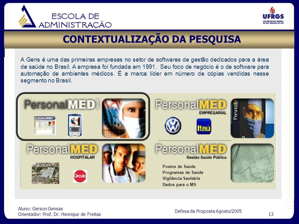 Aluno: Gerson Gensas Orientador: Prof. Dr. Henrique de Freitas 13 Defesa da Proposta Agosto/2005 CONTEXTUALIZAÇÃO DA PESQUISA A Gens é uma das primeir