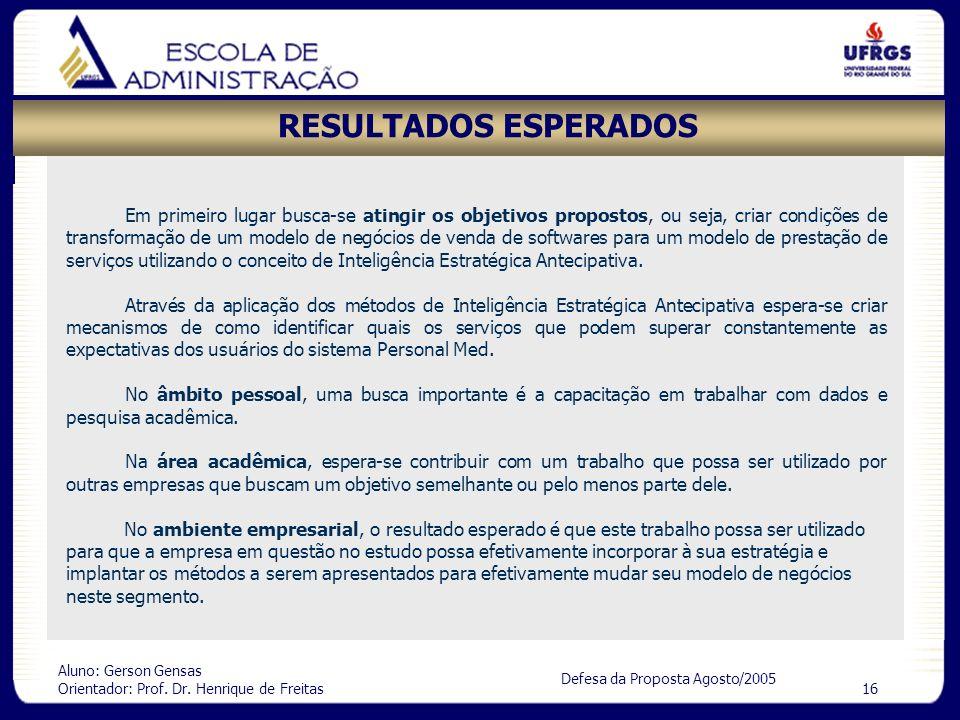 Aluno: Gerson Gensas Orientador: Prof. Dr. Henrique de Freitas 16 Defesa da Proposta Agosto/2005 RESULTADOS ESPERADOS Em primeiro lugar busca-se ating