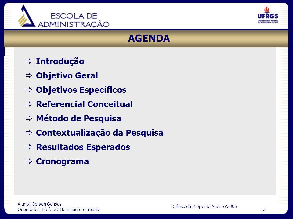 Aluno: Gerson Gensas Orientador: Prof. Dr. Henrique de Freitas 2 Defesa da Proposta Agosto/2005 AGENDA Introdução Objetivo Geral Objetivos Específicos
