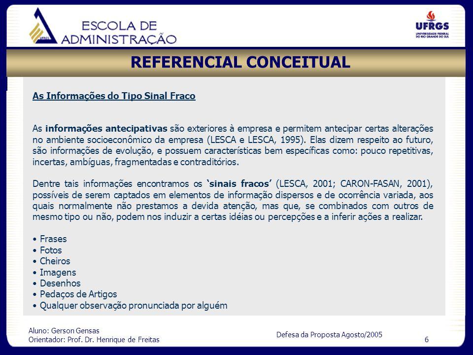 Aluno: Gerson Gensas Orientador: Prof. Dr. Henrique de Freitas 6 Defesa da Proposta Agosto/2005 REFERENCIAL CONCEITUAL As informações antecipativas sã