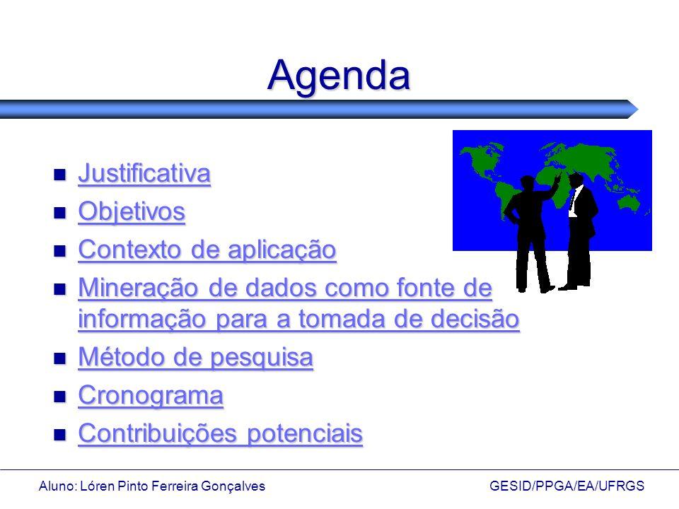 Aluno: Lóren Pinto Ferreira Gonçalves GESID/PPGA/EA/UFRGS Tema e Justificativa: Mineração de Dados e Administração Tema e Justificativa: Mineração de Dados e Administração Organizações acumulam muitas informações em seus bancos de dados e estes passam a conter verdadeiros tesouros de informação sobre vários dos procedimentos dessas organizações; Organizações acumulam muitas informações em seus bancos de dados e estes passam a conter verdadeiros tesouros de informação sobre vários dos procedimentos dessas organizações; Informações estão implícitas nas bases de dados, ultrapassando a habilidade técnica e a capacidade humana na sua interpretação; Informações estão implícitas nas bases de dados, ultrapassando a habilidade técnica e a capacidade humana na sua interpretação; Busca de aproximação com o cliente Busca de aproximação com o cliente (conhecimento sobre o cliente) (conhecimento sobre o cliente)
