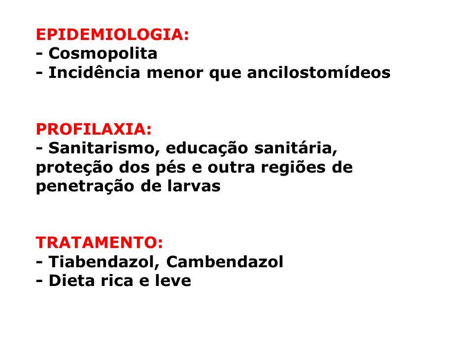 EPIDEMIOLOGIA: - Cosmopolita - Incidência menor que ancilostomídeos PROFILAXIA: - Sanitarismo, educação sanitária, proteção dos pés e outra regiões de