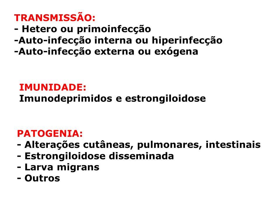 TRANSMISSÃO: - Hetero ou primoinfecção -Auto-infecção interna ou hiperinfecção -Auto-infecção externa ou exógena IMUNIDADE: Imunodeprimidos e estrongi