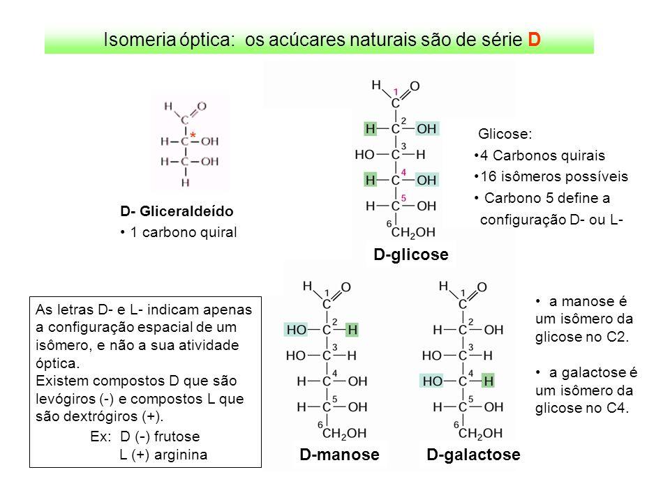D- Gliceraldeído 1 carbono quiral * D-glicose D-manoseD-galactose Glicose: 4 Carbonos quirais 16 isômeros possíveis Carbono 5 define a configuração D-