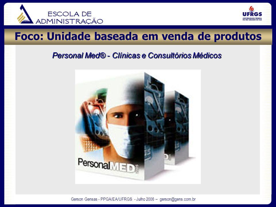 Gerson Gensas - PPGA/EA/UFRGS - Julho 2006 – gerson@gens.com.br Foco: Unidade baseada em venda de produtos Personal Med® - Clínicas e Consultórios Méd