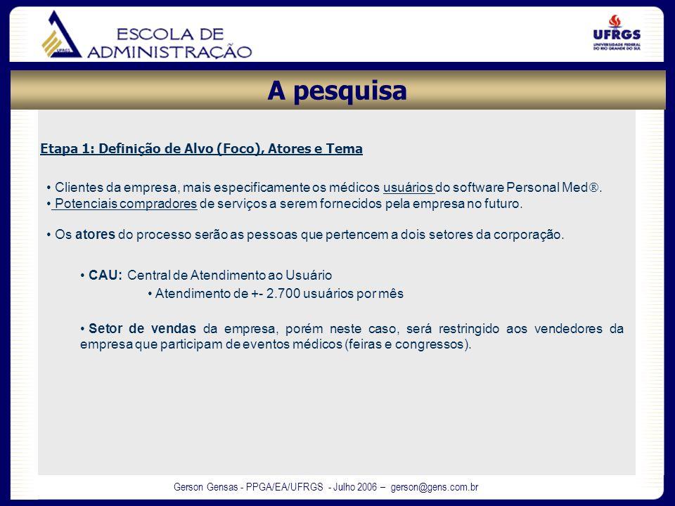 Gerson Gensas - PPGA/EA/UFRGS - Julho 2006 – gerson@gens.com.br Etapa 1: Definição de Alvo (Foco), Atores e Tema Clientes da empresa, mais especificam