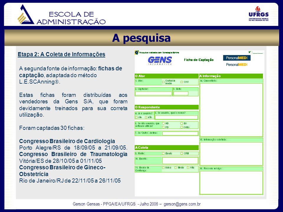Gerson Gensas - PPGA/EA/UFRGS - Julho 2006 – gerson@gens.com.br Etapa 2: A Coleta de Informações A segunda fonte de informação: fichas de captação, ad