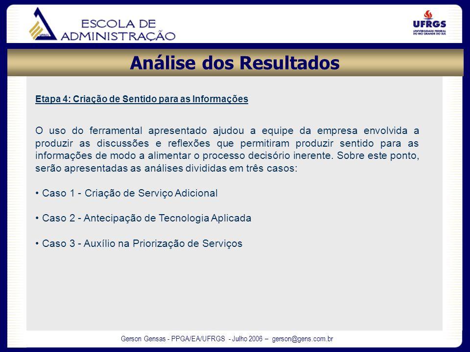 Gerson Gensas - PPGA/EA/UFRGS - Julho 2006 – gerson@gens.com.br Análise dos Resultados Etapa 4: Criação de Sentido para as Informações O uso do ferram