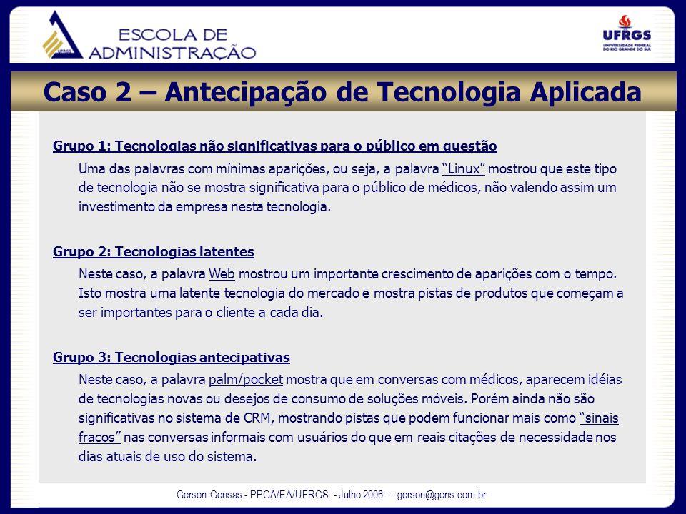 Gerson Gensas - PPGA/EA/UFRGS - Julho 2006 – gerson@gens.com.br Caso 2 – Antecipação de Tecnologia Aplicada Grupo 1: Tecnologias não significativas pa