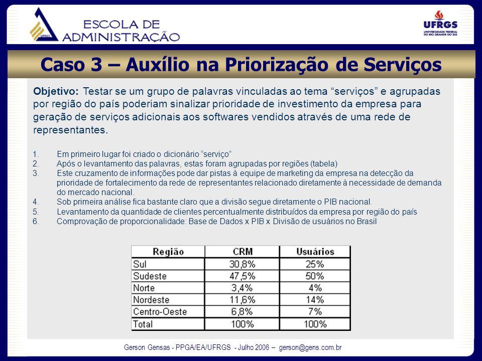 Gerson Gensas - PPGA/EA/UFRGS - Julho 2006 – gerson@gens.com.br Caso 3 – Auxílio na Priorização de Serviços Objetivo: Testar se um grupo de palavras v