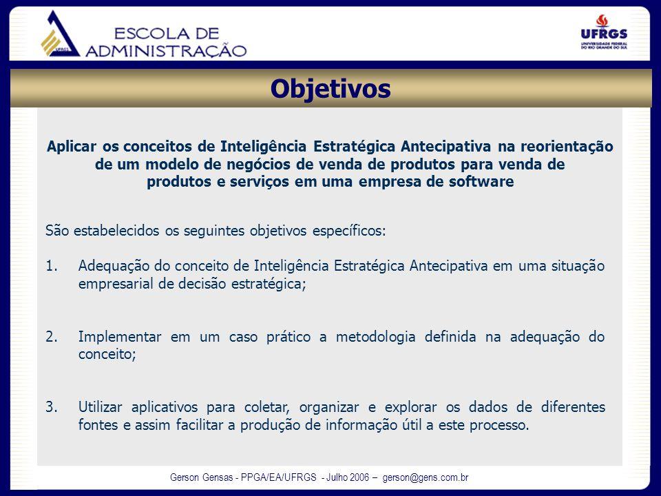Gerson Gensas - PPGA/EA/UFRGS - Julho 2006 – gerson@gens.com.br São estabelecidos os seguintes objetivos específicos: 1.Adequação do conceito de Intel