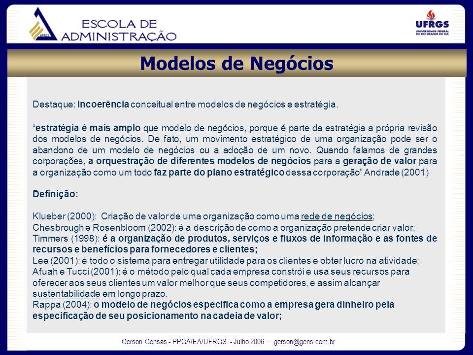 Gerson Gensas - PPGA/EA/UFRGS - Julho 2006 – gerson@gens.com.br Destaque: Incoerência conceitual entre modelos de negócios e estratégia. estratégia é