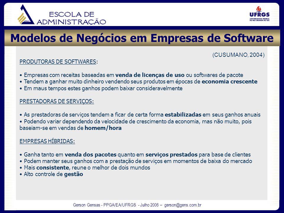 Gerson Gensas - PPGA/EA/UFRGS - Julho 2006 – gerson@gens.com.br (CUSUMANO, 2004) PRODUTORAS DE SOFTWARES: Empresas com receitas baseadas em venda de l