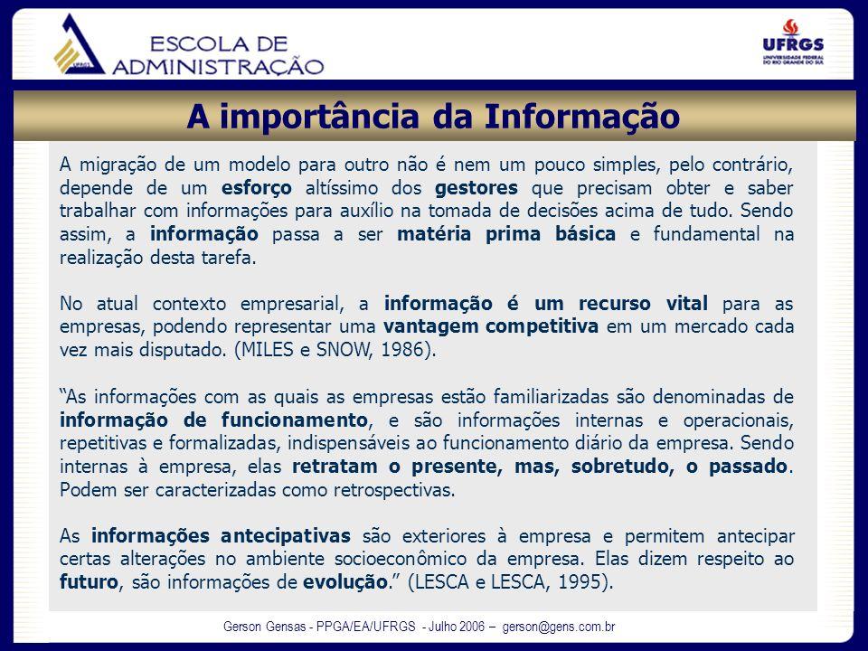 Gerson Gensas - PPGA/EA/UFRGS - Julho 2006 – gerson@gens.com.br As informações com as quais as empresas estão familiarizadas são denominadas de inform