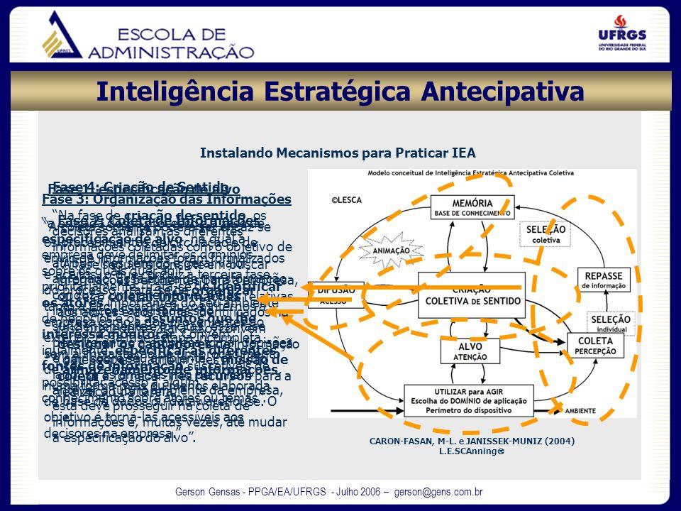 Gerson Gensas - PPGA/EA/UFRGS - Julho 2006 – gerson@gens.com.br Instalando Mecanismos para Praticar IEA CARON-FASAN, M-L. e JANISSEK-MUNIZ (2004) L.E.