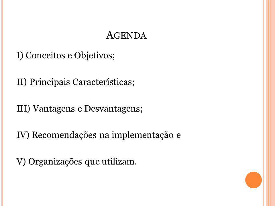 A GENDA I) Conceitos e Objetivos; II) Principais Características; III) Vantagens e Desvantagens; IV) Recomendações na implementação e V) Organizações que utilizam.