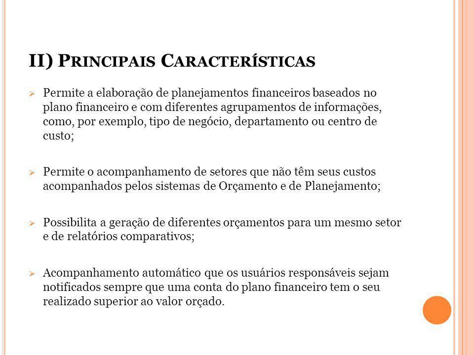 II) P RINCIPAIS C ARACTERÍSTICAS Permite a elaboração de planejamentos financeiros baseados no plano financeiro e com diferentes agrupamentos de infor
