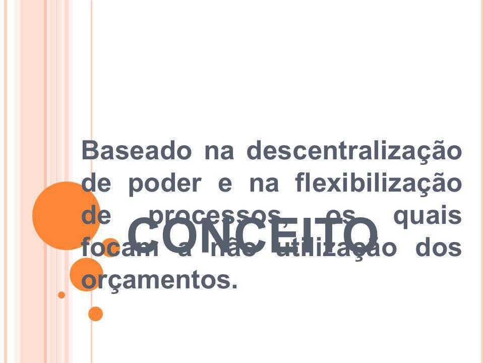 CONCEITO Baseado na descentralização de poder e na flexibilização de processos, os quais focam a não utilização dos orçamentos.